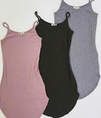 dress curved hem round neck olive green grey dusty pink casual dress sleeveless