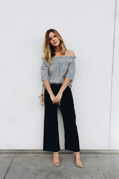 take aim,blogger,shirt,pants,shoes,bag,cropped wide-leg velvet pants,black wide-leg velvet pants,le fashion image,top,jeans,Cropped Flared Jeans,striped off shoulder top,off the shoulder,off the shoulder top,three-quarter sleeves,black pants,cropped pants,wide-leg pants,palazzo pants,shoulder bag,nude bag,slingbacks,nude sandals,sandals,sandal heels,high heel sandals,office outfits,spring outfits