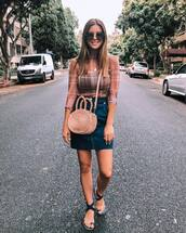 bag,woven bag,flat sandals,denim skirt,high waisted,crossbody bag,sunglasses,mini skirt
