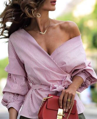 shirt tumblr pink shirt wrap top necklace gold necklace jewels jewelry bag red bag puffed sleeves
