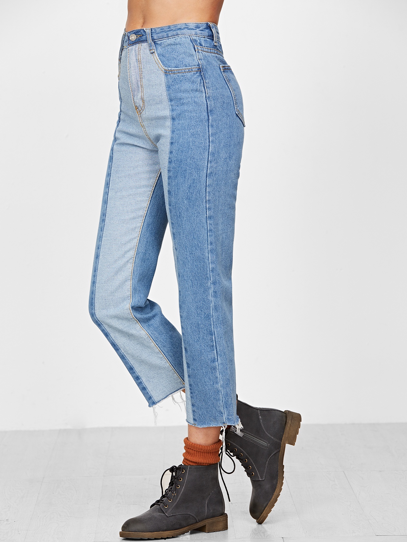00f89a4644 Blue Contrast Raw Hem Straight Jeans -SheIn(Sheinside)