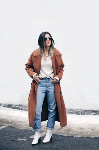 elif filyos blogger coat sweater jeans shoes
