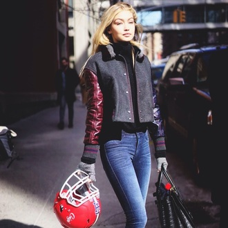 jacket leather jacket gigi hadid streetwear streetstyle red grey fall outfits fall jacket fall colors