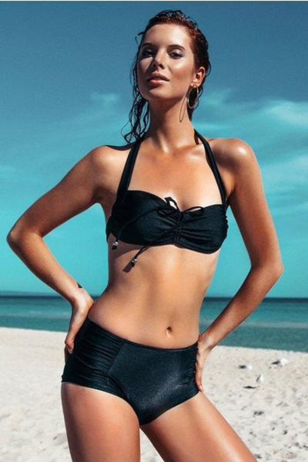 b0f4582d86 top bikini top black halter top robb and lulu removable cups.