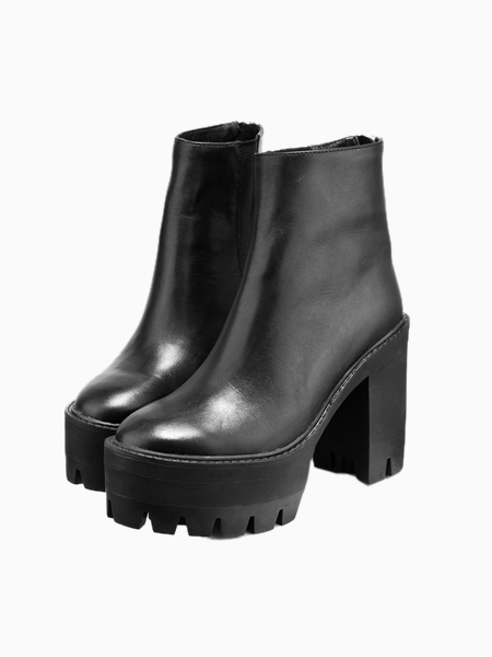 Leather platform zip ankle boots