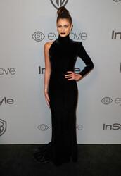 dress,asymmetrical,asymmetrical dress,black dress,gown,prom dress,model off-duty,Golden Globes 2018