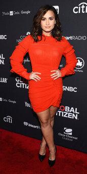 dress,red dress,red,mini dress,long sleeves,long sleeve dress,demi lovato