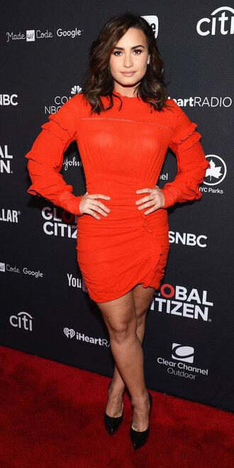 dress red dress red mini dress long sleeves long sleeve dress demi lovato