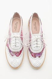 shoes,white,pink,oxfords