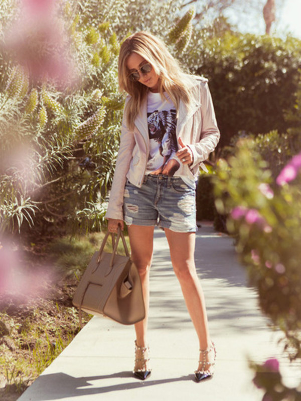 ashley tisdale shoes shorts jacket sunglasses valentino rockstud
