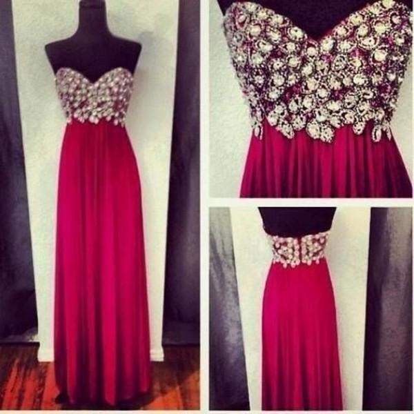 dress red classy glitz gorgeous christmas diamonds maxi dress strapless prom dress