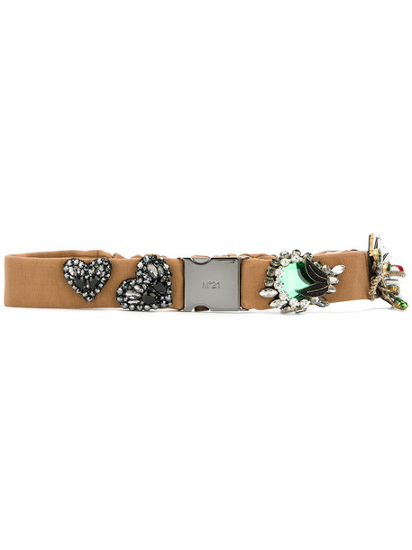 embellished belt brown