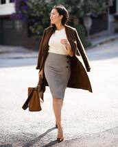 skirt,midi skirt,plaid skirt,pencil skirt,blouse,coat,wool coat,pumps,handbag