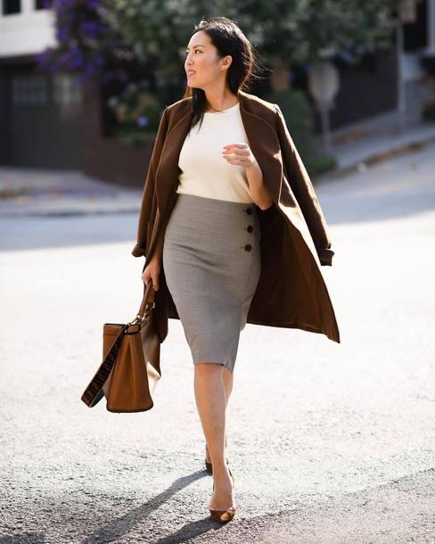 skirt midi skirt plaid skirt pencil skirt blouse coat wool coat pumps handbag