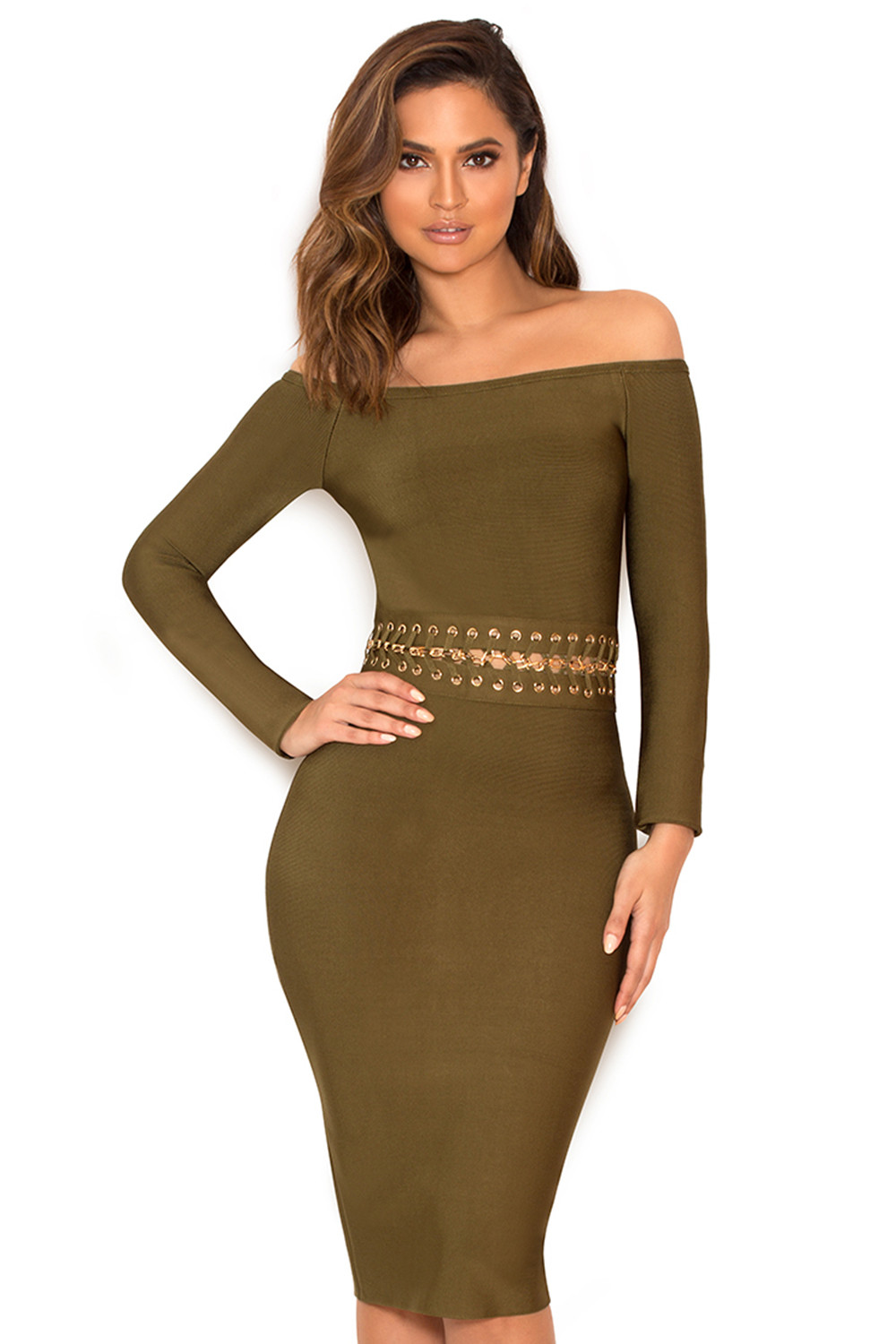 7a6bee29cea6 Clothing   Bandage Dresses    Jadzia  Khaki Off Shoulder Bandage ...