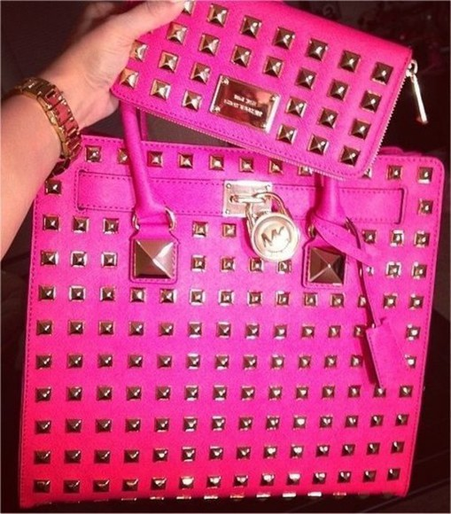 bag rivets michael kors wallet handbag pink hot pink