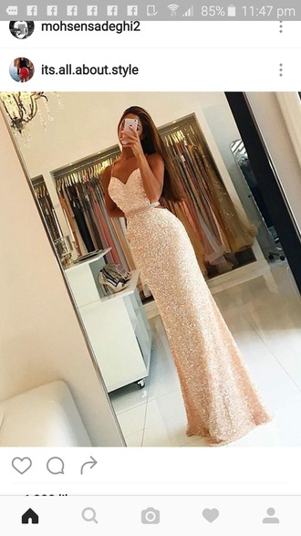 dress glitterdress long dress gold gold dress prom dress gown sparkly dress bridesmaid glitter dress champagne prom dress