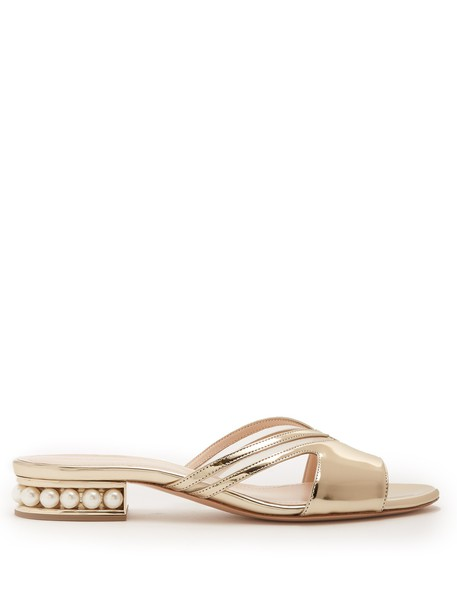 mules leather gold shoes