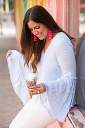 sunflowersandstilettos,blogger,top,jewels,jeans,bag,shoes,bell sleeves,white jeans,spring outfits