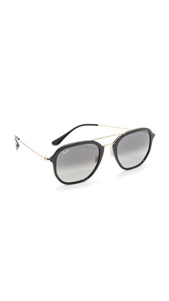 Ray-Ban Highstreet Aviator Sunglasses - Shiny Black/Green