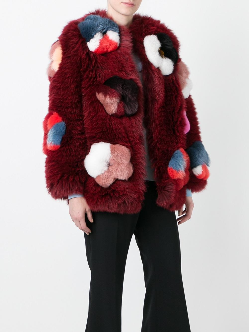 7b76e857a4d0 Fendi Flower Appliqué Fox Fur Jacket - Farfetch