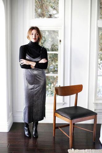 dress slip dress date outfit black turtleneck top blogger black ankle boots