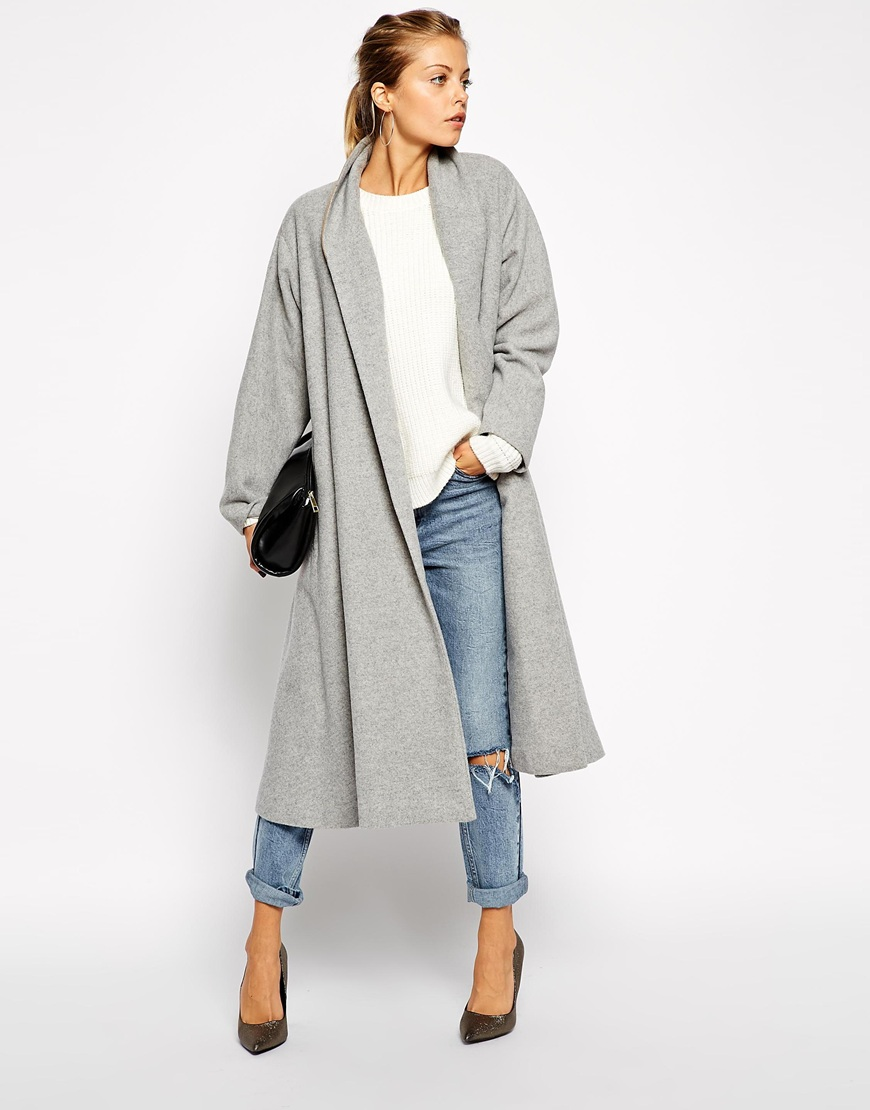Long Sleeve Lapel Pockets Oversized Coat - Sheinside.com
