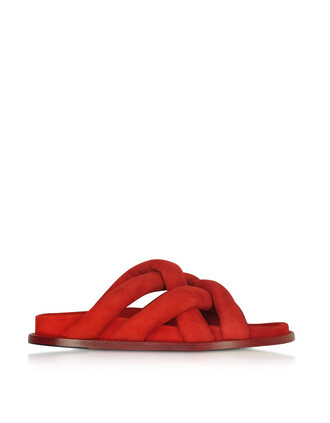 sandals flat sandals suede red shoes