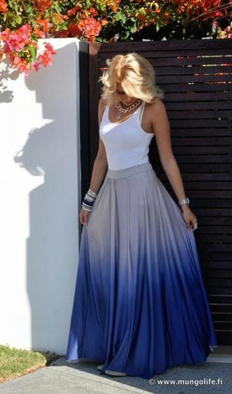 ombre maxi skirt chiffon skirt pleated skirt ombre