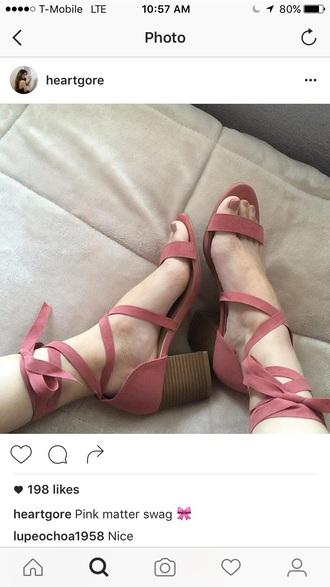 shoes low heels chunky heels mid heel sandals pink