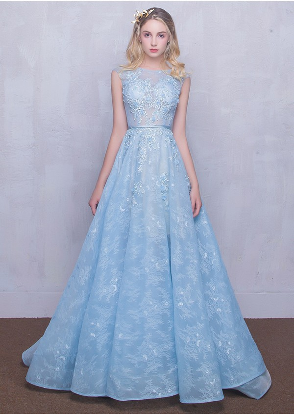 dress, light blue, prom dress, prom gown, light blue long prom dress ...
