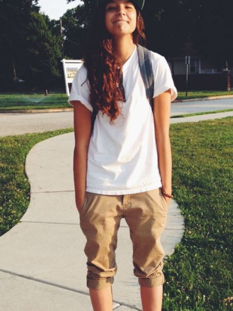 Pants Yellow Rolled Up White T-shirt Snapback Tomboy Tomboy Outfit Tomboy Shorts Tomboy ...