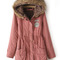 Pink faux fur hooded drawstring pockets coat - sheinside.com