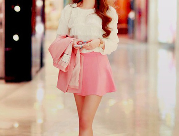pink skirt style
