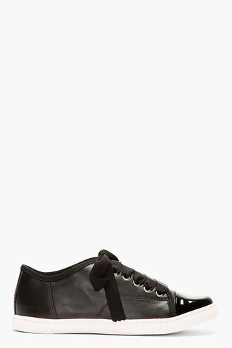 black ribbon shoes women leather laces sneakers