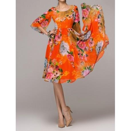 Orange Hawaii Chiffon skirt Maxi Skirt Long Skirt Bohemia Dress lml2057 - lol-malls - Trustful Online Shopping for Women Dresses
