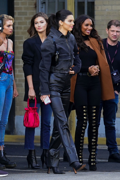 jacket kendall jenner kardashians model all black everything fall outfits celebrity boots victoria's secret model victoria's secret