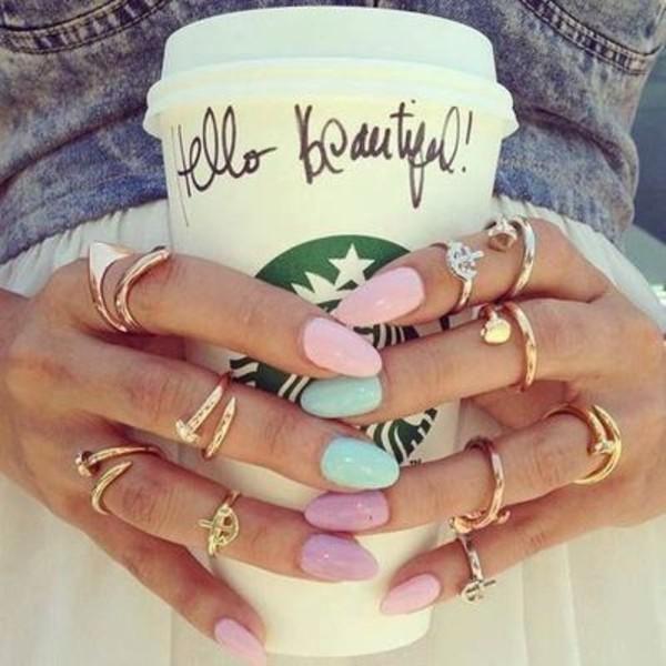 jewels pastel mint nails pink lavender ring starbucks coffee knuckle ring nail polish purple blue