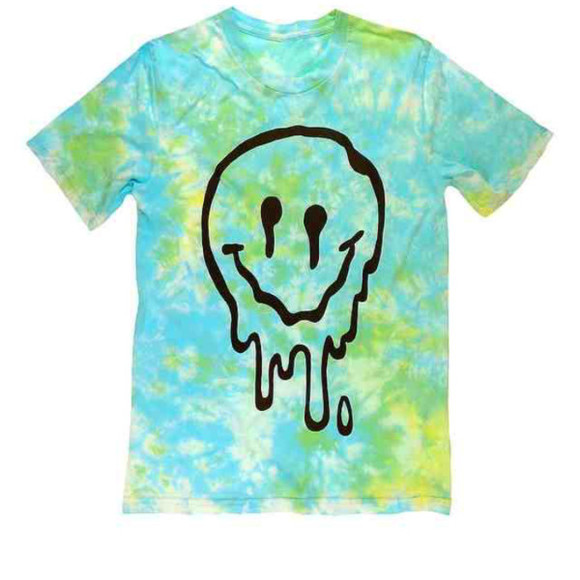 shirt hipster tye dye hippie stoner trippy green blue smiley face melting dripping yellow mix