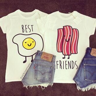 t-shirt jazrox hipster style girly boho quote on it neon sexy cute bff bff shirts bff t-shirts best friends top egg bacon kawaii matching set classy tumblr girl cool lookbook summer fashion dope pretty trendy beach pastel beautiful urban instagram swag hot