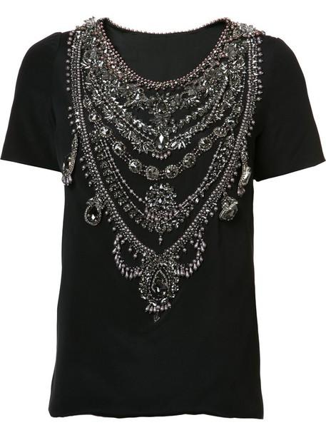 t-shirt shirt t-shirt women embellished black silk top