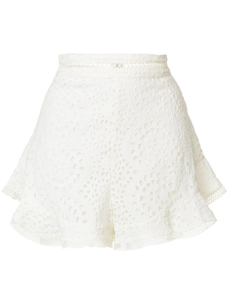 Zimmermann shorts embroidered women lace white cotton