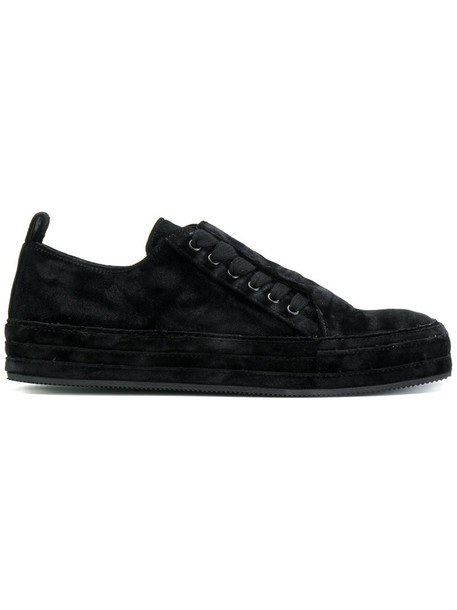 ANN DEMEULEMEESTER women sneakers lace leather black velvet shoes