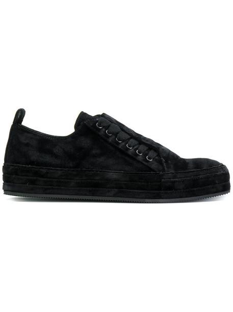 women sneakers lace leather black velvet shoes