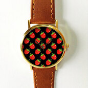 jewels,watch,handmade,style,fashion,vintage,etsy,freeforme,summer,spring,gift ideas,new,love,hot,trendy,strawberry,fruits,tropical,black,red