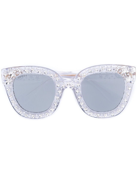 Gucci Eyewear - cat eye sunglasses with stars - women - Acetate/Swarovski Crystal - One Size, Grey, Acetate/Swarovski Crystal in metallic