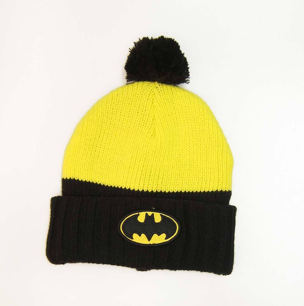 DC Comics Batman Bat Logo Beanie Cap Hat Yellow Black | eBay