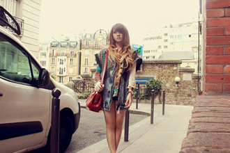 brown platform blouse coat bag shoes