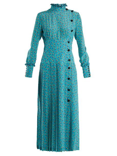 Alessandra Rich dress floral print silk blue