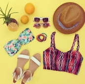 swimwear,forever 21,aztek print,tank top,swimwear printed,flowers,floral,flowered bikini,bikini top,bikini,shoes,sandals,white sandals,white,hibiscus,hat,summer hats,sunglasses,white sunglasses cat eye,white sunglasses,retro sunglasses,retro,cat eye,jewels,bracelets,pearl bracelet,multicolor,trisha,youtube,trisha paytas,summer holidays